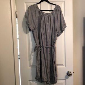 Stripe swoop neck cotton button up dress